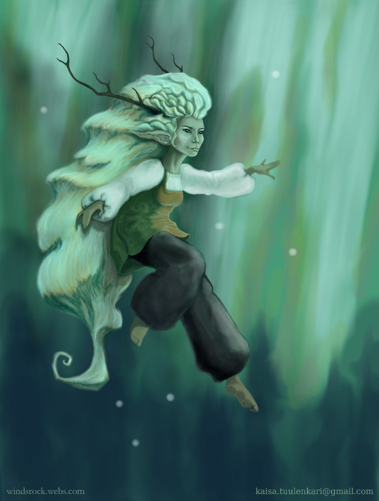 Spirit of the Forest in the Light of Aurora Borealis